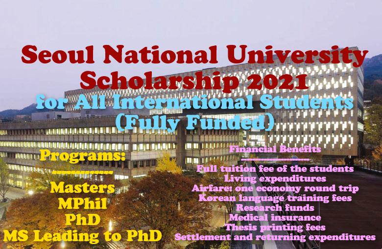 Seoul National University Scholarship 2021